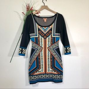 Flying Tomato Aztec Print Bodycon Sweater Dress